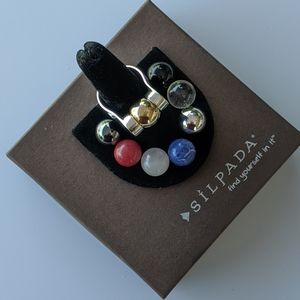 Silpada Interchangeable ball ring, sz 8/9